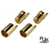 RJX Male And Female, 6.5mm Gold Plated Banana (bullet) Connector 2sets